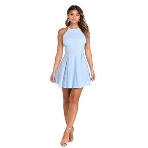 Windsor Lovingly In Lace Periwinkle Skater Dress